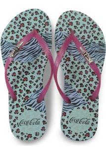 Chinelo Coca Cola Trend Animal Feminino - Feminino-Azul