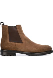 Santoni Ankle Boot Com Recorte Elástico - Marrom