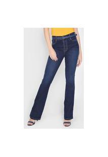 Calça Jeans Sawary Flare Azul-Marinho