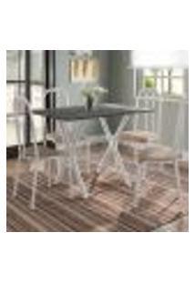 Conjunto De Mesa Miame 110 Cm Com 4 Cadeiras Madri Branco E Nature Bege