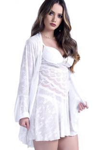 Robe Lã¡Mour Curto Yasmin Lingerie Branco - Branco - Feminino - Dafiti