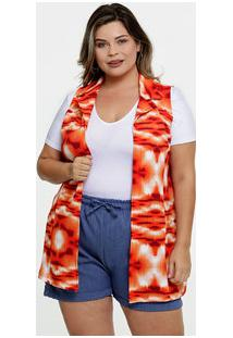 Colete Feminino Estampa Tie Dye Plus Size