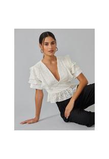 Amaro Feminino Blusa Com Babado Na Cintura E Ombros, Off-White