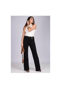 Calça Pantalona Malha Com Botão Madrepérola E Bolso Preto