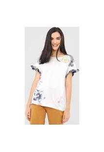 Camiseta Desigual Muich Off-White/Azul-Marinho