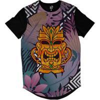 Camiseta Longline Long Beach Totem Floral Ouro Sublimada Masculina -  Masculino-Roxo c7437a6c726c5
