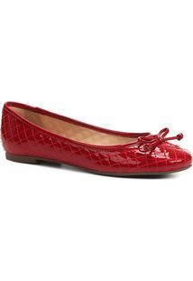 Sapatilha Shoestock Matelassê Verniz Feminina - Feminino-Vermelho