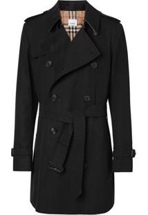 Burberry Trench Coat De Gabardine - Preto
