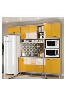 Cozinha Compacta Completa Multimóveis Com 4 Peças Sicília 5828 Argila/Amarelo