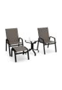 Conjunto 2 Cadeiras Mesa Riviera Alumínio Preto Tela Fendi