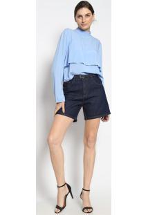 Bermuda Jeans Com Cinto - Azul Escuroenna