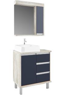 Gabinete Para Banheiro 70Cm 3 Gavetas Calcare E Noturno - Azul Marinho/Marrom/Multicolorido - Dafiti