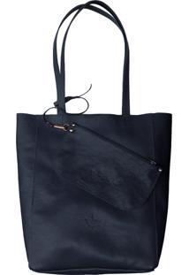 Bolsa Line Store Sacola Shopper N1 Couro Azul Marinho. - Kanui