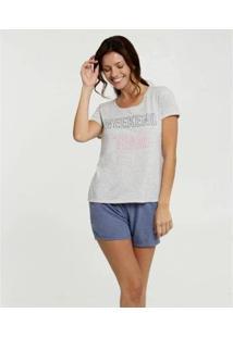 Pijama Estampa Frontal Marisa Feminino - Feminino-Cinza+Azul