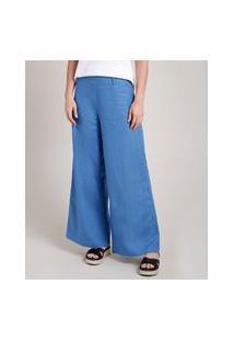 Calça Feminina Pantalona Com Linho Azul