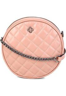 Bolsa Redonda Couro Capodarte Mini Bag Matelassê Feminina - Feminino-Nude