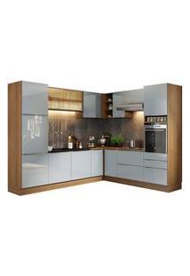 Cozinha Completa De Canto Madesa Lux 526001 Com Armário E Balcão Rustic/Cinza Rustic