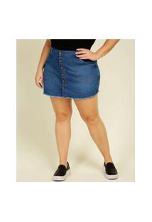 Short Saia Plus Size Feminino Jeans Botões