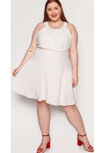 Vestido Almaria Plus Size Kayla Pinhel Viscose Areia Bege