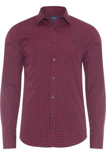 Camisa Masculina Casual Slim - Vermelho
