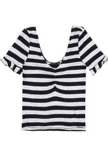 Blusa Listrada Em Malha De Viscose Com Decote Diferenciado