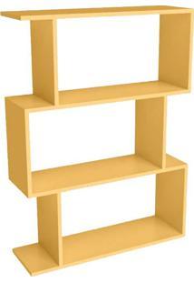 Estante Para Livros 3 Nichos Design Esm222 Amarelo - Móvel Bento