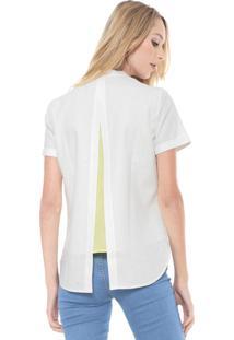 Camisa Linho Lacoste Sobreposição Branca