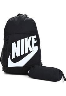Mochila Infantil Nike Element - Unissex-Preto+Branco