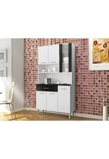 Cozinha 6 Portas Golden Linho Branco/Preto - Lc Móveis