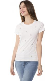 Camiseta T-Shirt Básica Com Aplicação Pérolas Pop Me Branco