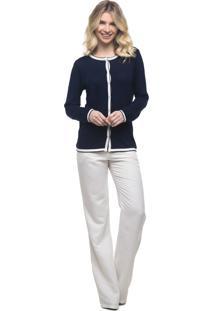 Cardigan Portrait Tricot Chanel Azul-Marinho
