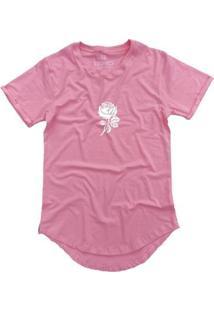 Camiseta Longline Stoned Rose Masculina - Masculino-Rosa