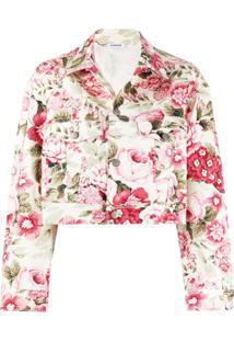 P.A.R.O.S.H. Jaqueta Jeans Cropped Com Estampa Floral - Neutro