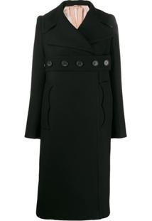 Nº21 Oversized Wrap Button Coat - Preto