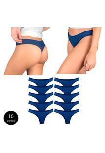 Kit Com 10 Calcinhas Fio Dental Try Basics Confortável Cotton Algodão Top Qualidade Costura Reforçada Premium Azul