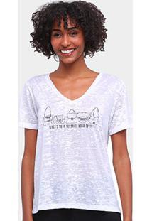 Camiseta Carmim Gola V Flamê Estampada Feminina - Feminino