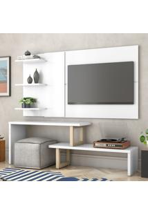 Painel E Rack Para Tv Atreus Branco Natural Casah