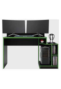Mesa Gamer Play Preto Fosco Liso/Verde Albatroz