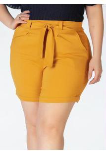 Bermuda Plus Size Em Bengaline Amarelo