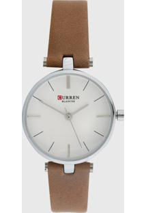 Relógio Curren C9038L Bege/Prata - Kanui