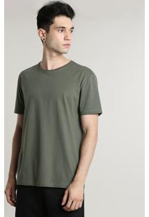 Camiseta Masculina Básica Manga Curta Gola Careca Verde Militar