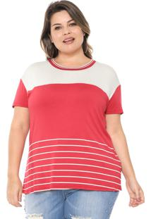 Blusa Habana Plus Listrada Vermelha/Off-White