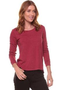 Camiseta Side Walkmanga Longa Feminina - Feminino-Vinho