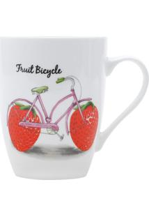 Caneca Bike Morango- Branca & Vermelha- 340Ml- Rrojemac