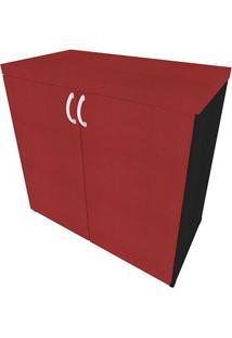 Armário De Escritório Natus 2 Pt Preto E Vermelho