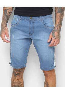 Bermuda Jeans Coffee Estonada Listra Lateral Cintura Média Masculina - Masculino