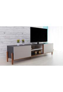Rack Para Tv Preto Moderno Vintage Retrô Com 2 Portas Cinza Eric - 186X43,6X48,5 Cm