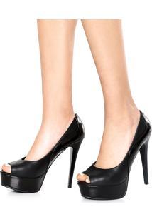 Peep Toe Dafiti Shoes Meia-Pata Preto