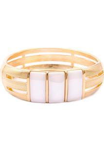 Bracelete Fane'S Banhado A Ouro E Porcelana Branco