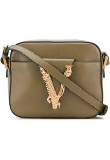 Versace Bolsa Transversal Com Logo V - Verde